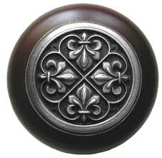 Wooden Cabinet Knobs Fleur De Lis Walnut Wood Knob Antique Style Pewter