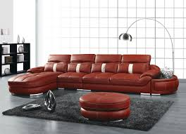 furniture red leather sectional sofas having sofa bed and round