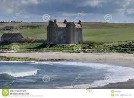 closeup of strong house at freswick bay scotland stock photo