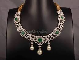 diamond emerald necklace images Diamond emerald necklace jewellery designs jpg