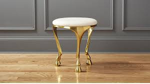 gallop white and gold stool cb2