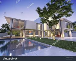 house with pool external view contemporary house pool dusk stock illustration
