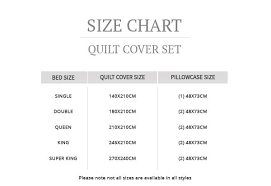 Duvet Cover Size Chart Mae Quilt Cover Set Myhouse
