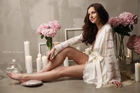 honeymoon sleepwear silk bridal robe with lace sleeves f6 bridal