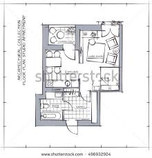 architectural plan layout apartment furniture drawing stock vector