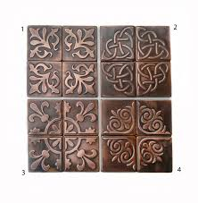 Copper Tiles For Kitchen Backsplash Copper Kitchen Backsplash Set Of 4 Tiles Rustic Modern