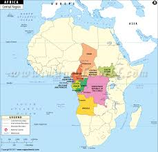 angola physical map central africa map central countries and capitals