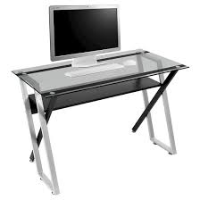 Metal And Glass Computer Desk Colorado Metal And Glass Laptop Writing Desk Black Silver