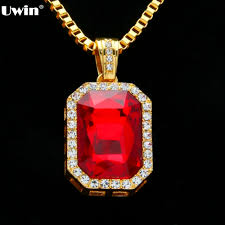 red stones gold necklace images Buy geometric necklace bling iced out red stone jpg