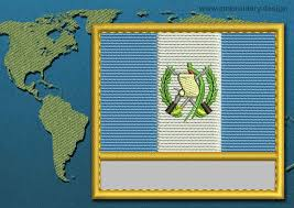 Guatemala Flag Guatemala Customizable Text Flag Embroidery Design With A Gold Border