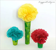 tissue paper flowers printable instructions tissue paper and cardboard tube flower craft buggy and buddy