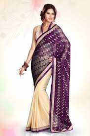 new fashion wine and cream jacquard party wear saree with designer