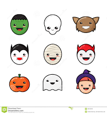 free halloween icon cute kawaii halloween icons set funny monster stock vector