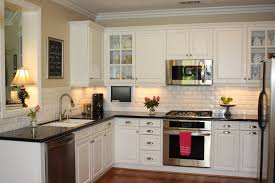 Small L Shaped Kitchen Remodel Ideas by White Cabinet Feat Black Countertop Design For Small L Shaped