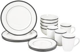 kitchen dinnerware set dishes dining bar service plates black