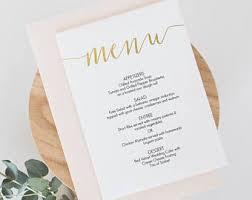 Diy Wedding Menu Cards Wedding Menus Etsy