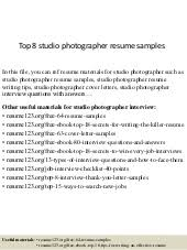 Sample Photography Resume by Photographer Cover Letter
