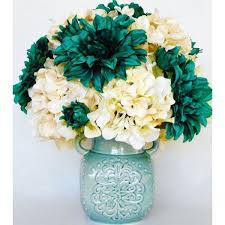 Home Decor Flower Arrangements Artificial Flower Arrangement Green Teal Dahlias Colored
