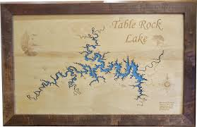 Table Rock Lake Map Wood Laser Cut Map Of Table Rock Lake Mo Topographical