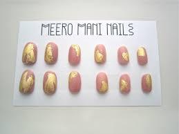 gilded pink arabesque gold leaf press on nails set meero mani