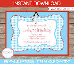 printable yellow brick road wizard of oz party invitations template birthday party