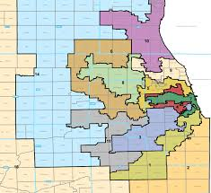 chicago gerrymandering map change of subject offensive images below