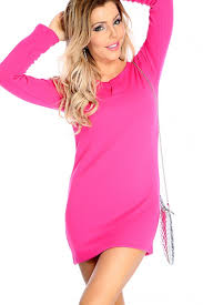 fitted sweater fuschia sleeve fitted sweater dress