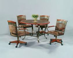 dining room table sets with chairs wheels casual casters leather