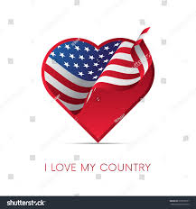 My National Flag American Flag Heart Love My Country Stock Vector 679810537