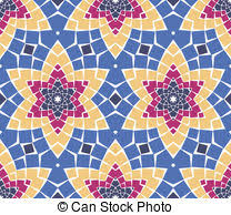 clipart vector of vector mosaic flower in different colors and
