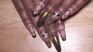 gold chrome and glitter nails acrylic nails youtube