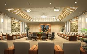 interior luxurious large beige conference room featuring curved