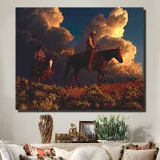 popular cowboy canvas art buy cheap cowboy canvas art lots from hdartisan a man of great character canvas art painting cowboy on horseback wall pictures for living
