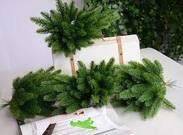 10Pcs Artificial Flower Fake Plants Pine Branches Christmas Tree