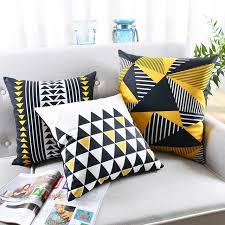 coussin décoratif pour canapé style nordique coussin couverture géométrique coussin jaune