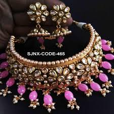 pink coloured beads necklace images Traditional pink colour beads neck fit necklace set for women jpg