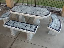 Cement Patio Table Cement Patio Table And Benches Home Design Ideas