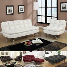 modern 2 pc espresso black white red faux leather sofa bed futon