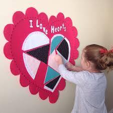 felt hearts valentines day felt wall hanging pattern preschool