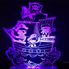 pirate ship light fixture 7 colors changing pirate ship modelling led nightlight 3d visual