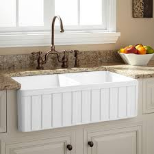 Stainless Steel Sink With Bronze Faucet Sinks White Acrylic Divided Apron Sink With Antique Bronze Faucet