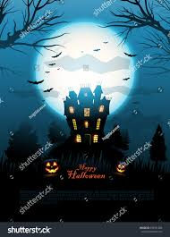 vintage moon pumpkin halloween background blue halloween haunted house background vector stock vector