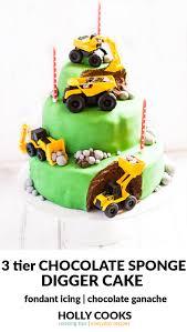 digger birthday cake 3 tier chocolate sponge with chocolate