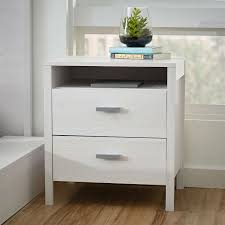 modern 2 drawer nightstand bedside table in larch white wash