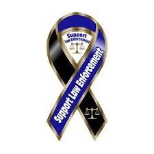 large ribbon support enforcement blue black large ribbon magnet