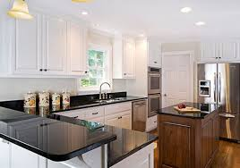 Kitchen Cabinet Recessed Lighting Classic White Wooden Kitchen Cabinet With Black Granite Countertop