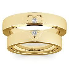 Gold Diamond Wedding Ring Sets by Matching Split Heart Diamond Wedding Ring Set In Yellow Gold