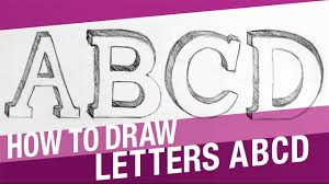 how to draw 3d letters abcd youtube