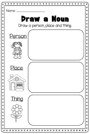 noun printable worksheet huge noun pack for kindergarten first