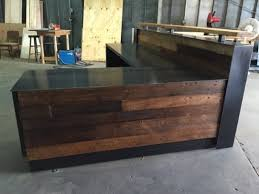 Pop Up Reception Desk Captivating Reclaimed Wood Reception Desk Steel Intended For